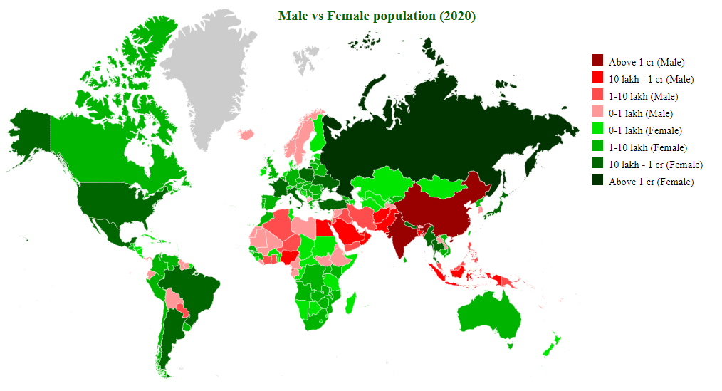 countries by male and female diff