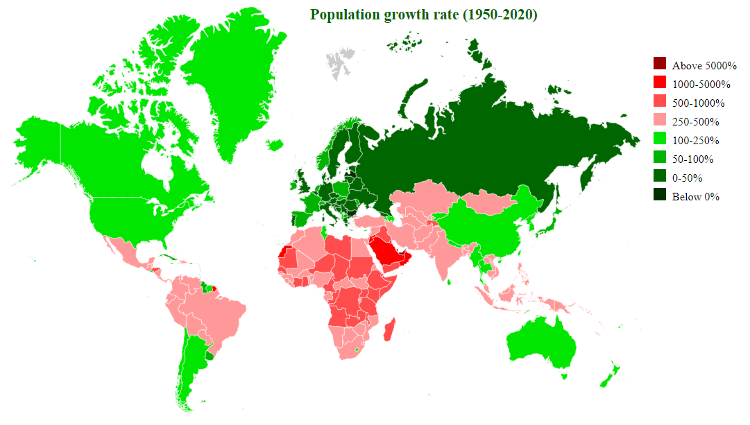 countries by population growth 1950-2020