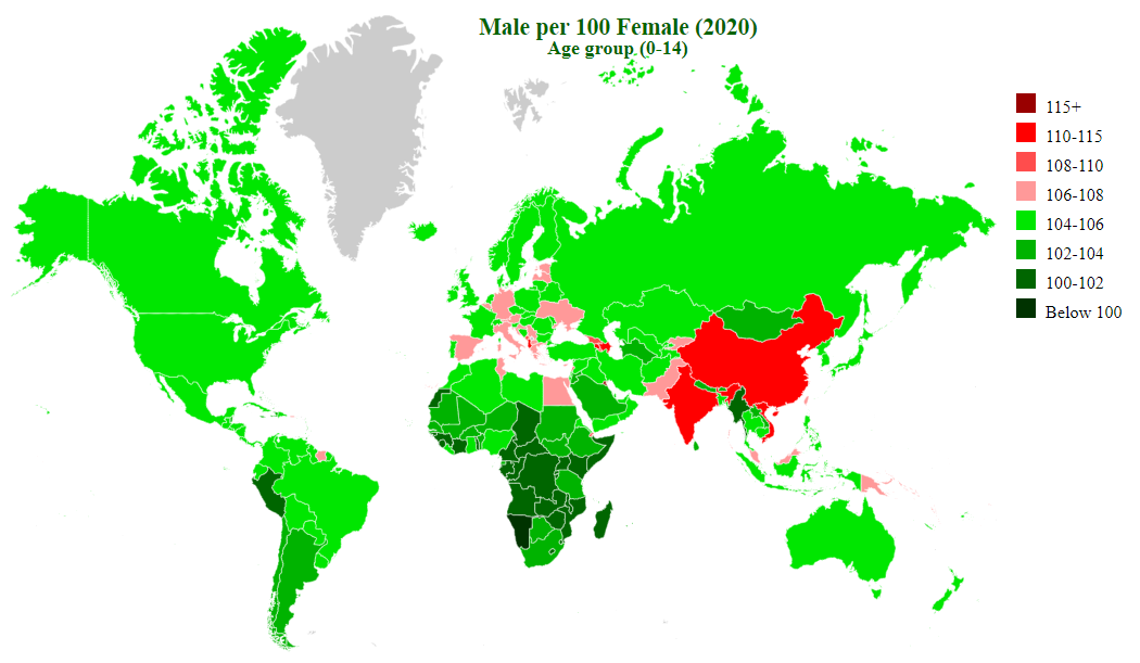 countries by sex ratio (00-14)