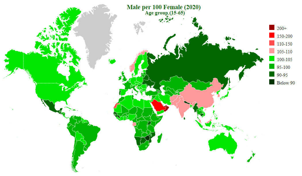 countries by sex ratio (15-65)