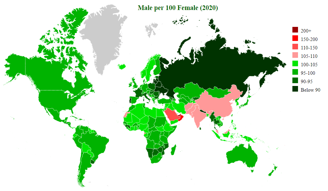 countries by sex ratio