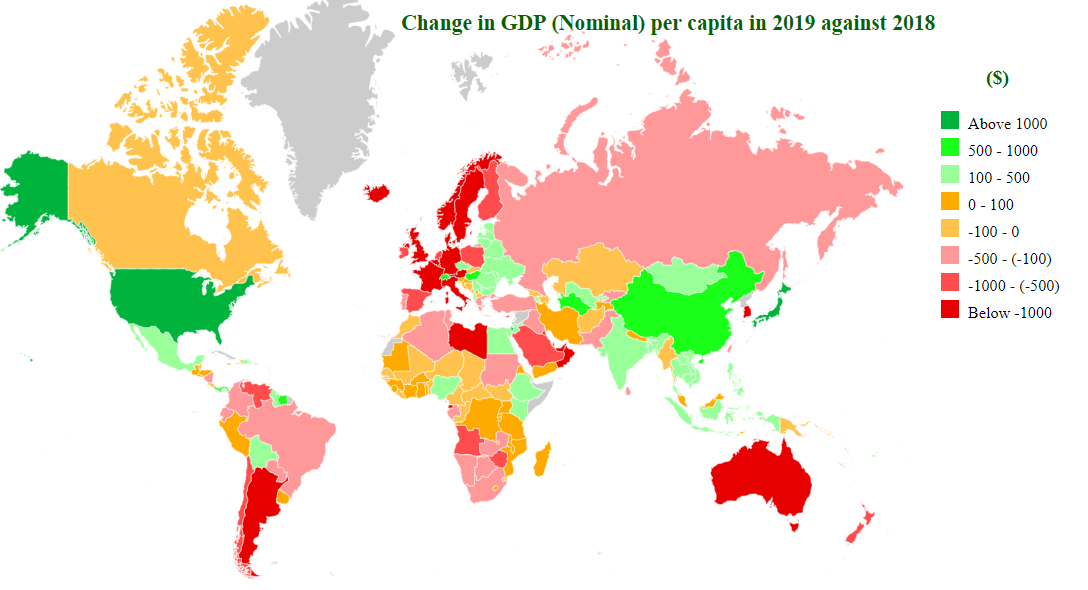 change in gdp (nominal) per caita in 2019 map