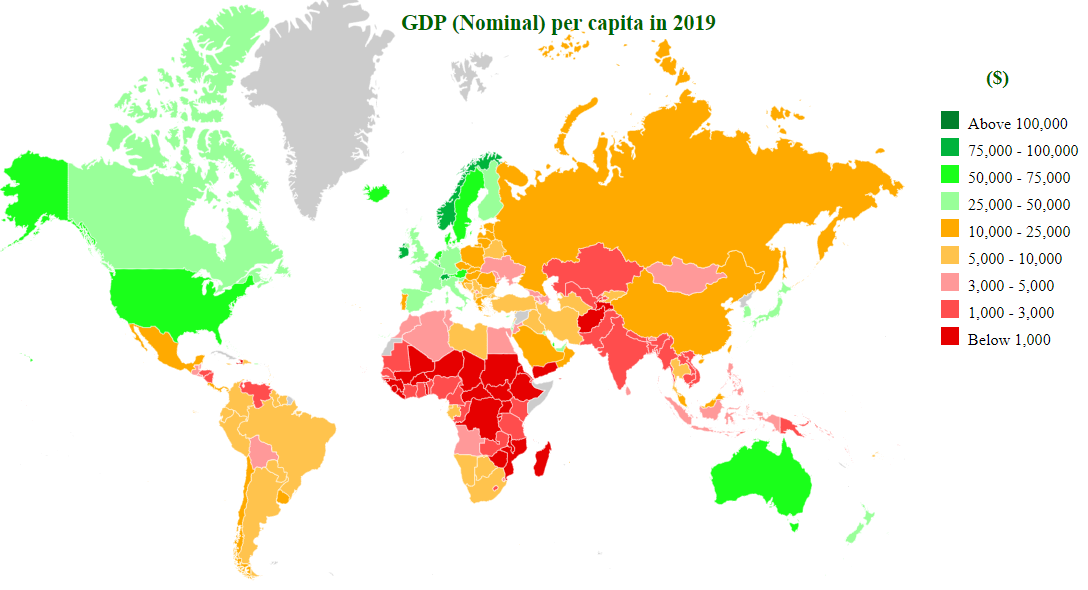 gdp (nominal) per capita by countries map