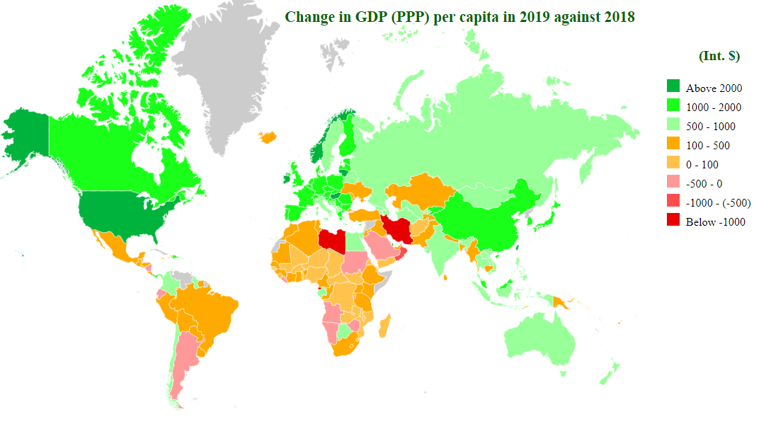 change in gdp (ppp) per caita in 2019 map