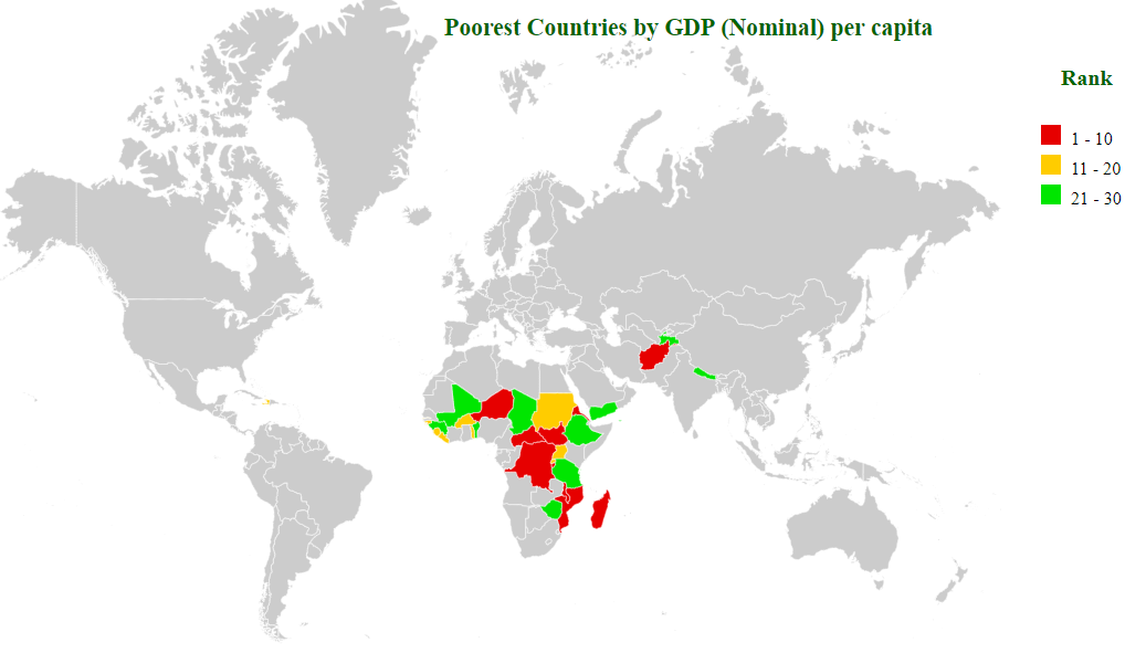 poorest countries by gdp (nominal) per capita map