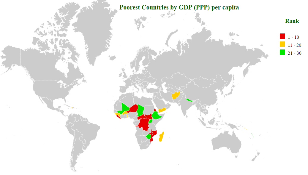 poorest countries by gdp (ppp) per capita map